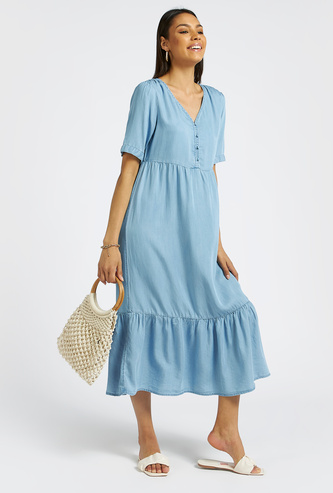 Solid Midi Tiered Dress with Short Sleeves