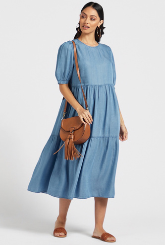Solid Tiered Midi A-line Round Neck Dress with Puff Sleeves