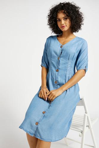 Solid A-Line Denim Midi Dress with Button Closure