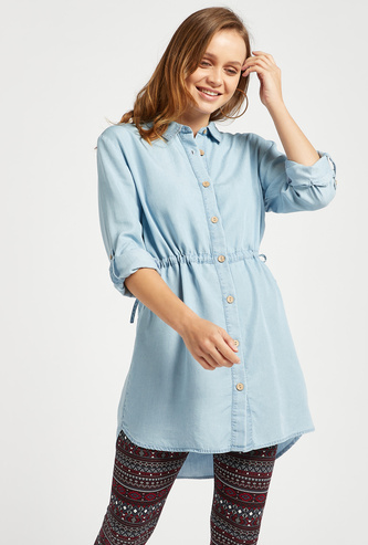 Solid Tunic with Collared Neck and Long Sleeves