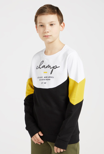 Graphic Print Cut and Sew Sweatshirt with Long Sleeves