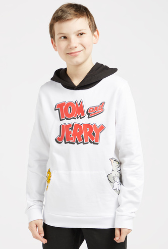 Tom and Jerry Print Sweatshirt with Long Sleeves and Hood