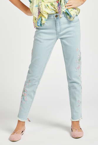Floral Embroidered Detail Jeans with Pocket Detail and Belt Loops