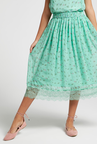 All-Over Print A-Line Midi Skirt with Lace Detail