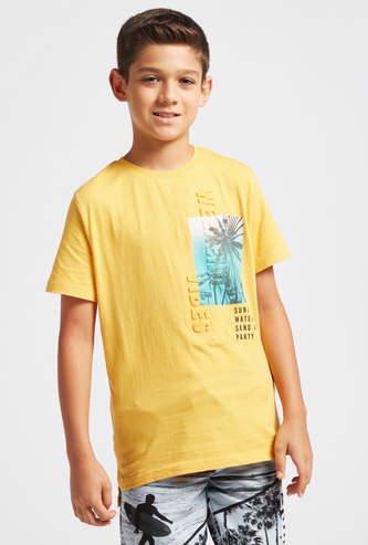 Printed T-shirt with Crew Neck and Embossed Detail