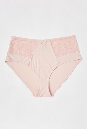Solid High-Rise Full Briefs with Lace Detail and Bow Accent