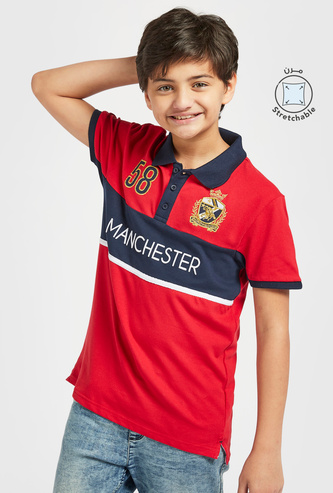 Manchester Panel Print Polo T-shirt with Short Sleeves