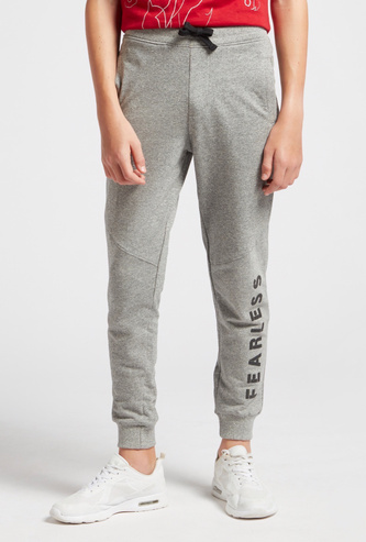Typographic Print Jog Pants with Pocket Detail and Drawstring Closure