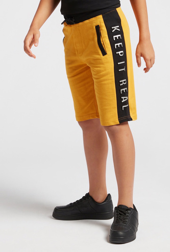 Solid Knit Shorts with Printed Side Panel and Pockets