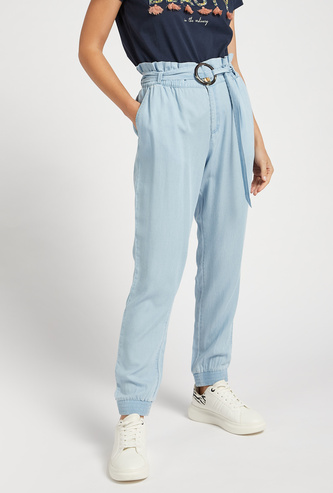 Solid Straight Fit Mid-Rise Pants with Paper Bag Waist