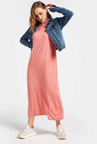 Solid Maxi Shift Sleeveless Dress with Round Neck