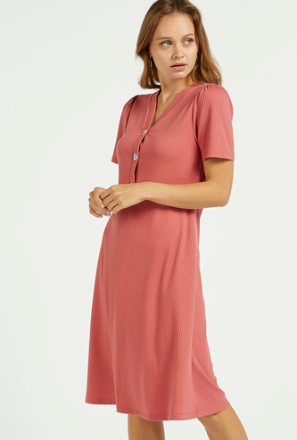Textured A-line Dress with Button Detail and Short Sleeves