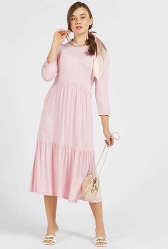 Solid Tiered Midi Dress with Round Neck and Three Quarter Sleeves