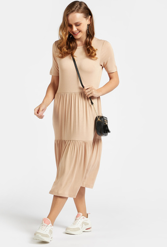 Solid Midi Tiered Dress with Crew Neck and Short Sleeves