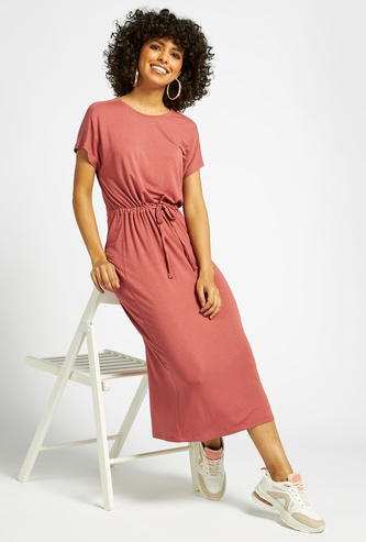 Solid Midi A-line Dress with Extended Sleeves and Tie-Ups