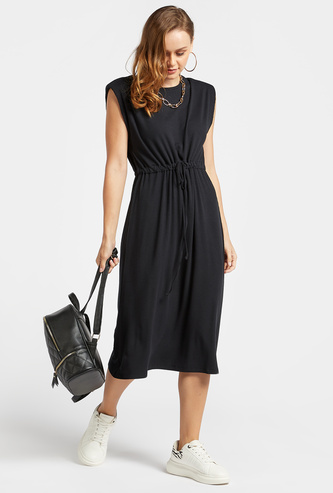 Ribbed Midi A-line Sleeveless Dress with Power Shoulder and Drawstring