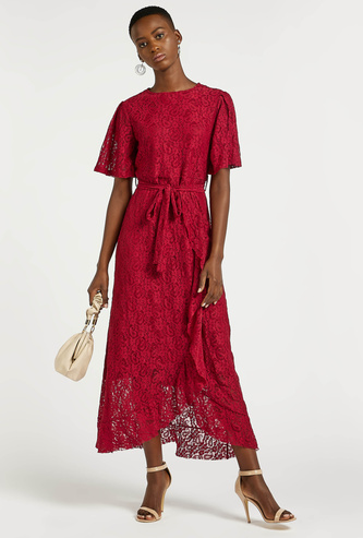 Textured Lace Detail Asymmetric Midi Dress with Short Sleeves