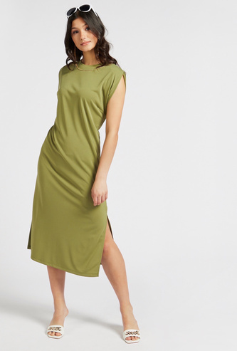 Solid Midi Shift Dress with Metallic Chain Detail and Side Slits