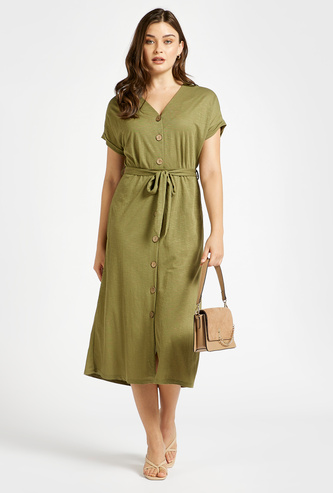 Solid A-Line Midi Dress with Button and Waist Tie-Up