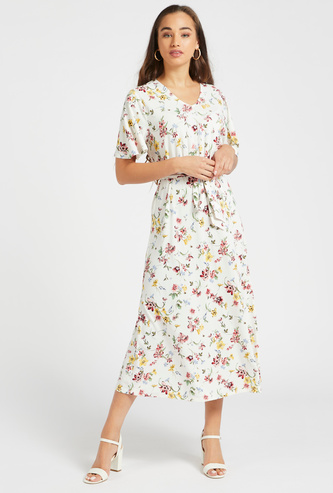 All-Over Floral Print Midi A-line Dress with V-neck and Belt