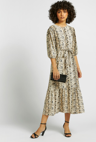 Animal Print Midi Tiered Dress with Puff Sleeves and Tie-Ups