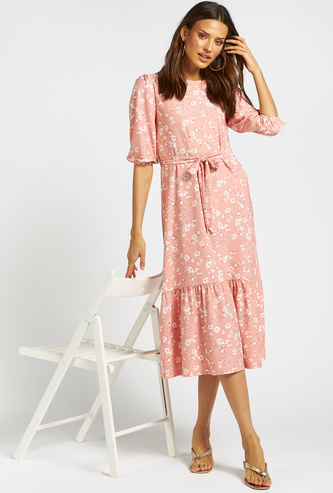 All-Over Floral Print Midi Tiered Dress with 3/4 Sleeves and Tie-Ups