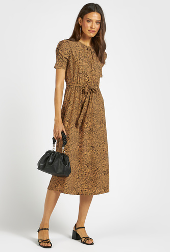 All-Over Print Midi A-line Dress with Short Sleeves and Tie-Ups