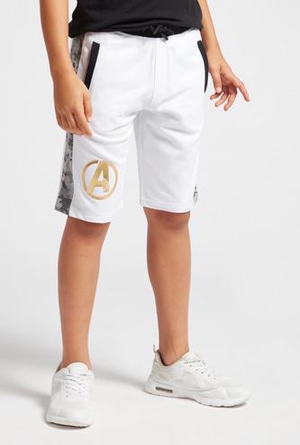 Avengers Logo Print Shorts with Pockets and Drawstring