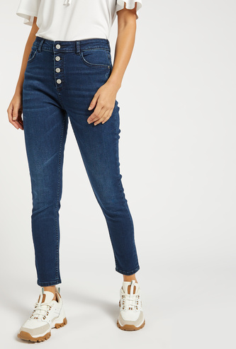 بنطلون جينز سكيني بخصر مرتفع وجيوب وحلقات حزام