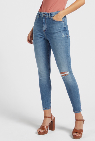 Skinny Fit Ankle Length High Rise Jeans with 5-Pockets
