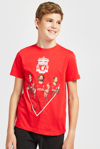 Liverpool F.C. Graphic Print T-shirt with Round Neck and Short Sleeves