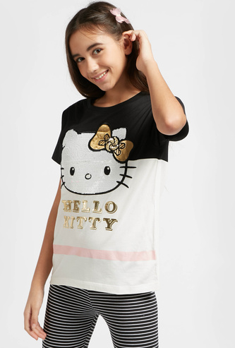 Hello Kitty Embellished Detail T-shirt with Short Sleeves