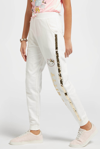 Hello Kitty Sequin Detail Jog Pants with Drawstring Closure