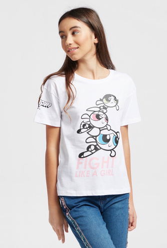 Power Puff Girls Print Boxy T-shirt with Short Sleeves