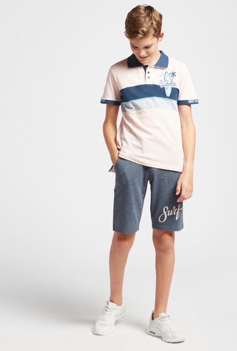 Cut and Sew Polo T-shirt and Shorts Set