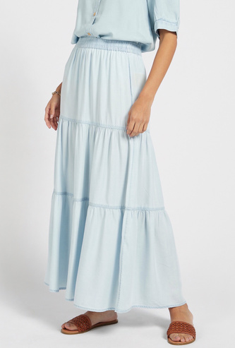 Solid Tiered Maxi A-line Skirt with Elasticated Waistband
