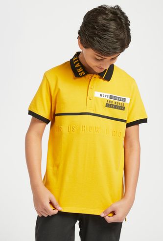 Text Embossed Print Polo T-shirt with Short Sleeves