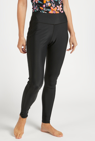 Solid Mid-Rise Full-Length Leggings with Elasticated Waistband