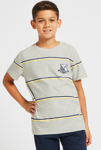 Logo Embroidered Detail Jacquard T-shirt with Crew Neck
