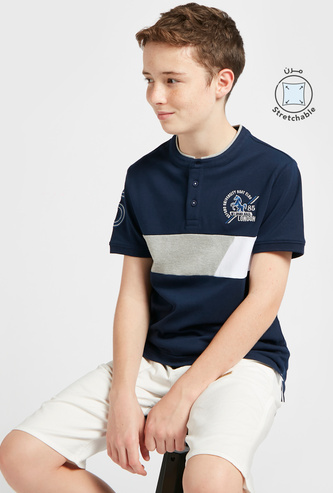 Embroidered T-shirt with Henley Neckline and Short Sleeves