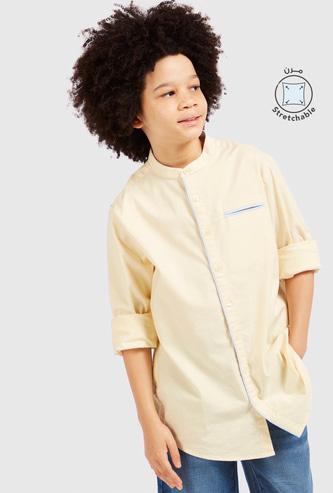 Solid Shirt with Long Sleeves and Mandarin Collar