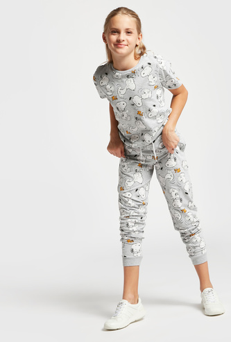 All-Over Snoopy Print Short Sleeves T-shirt and Jog Pants Set