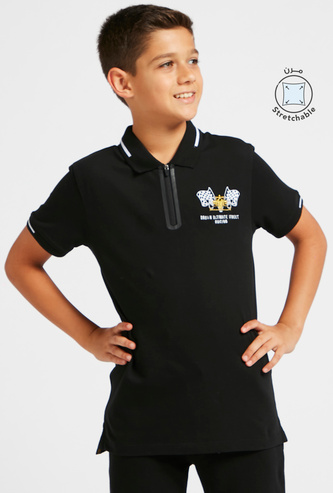 Embroidered Half Zip Polo T-shirt with Short Sleeves