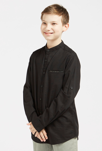 Textured Mandarin Neck Shirt with Long Sleeves and Button Closure
