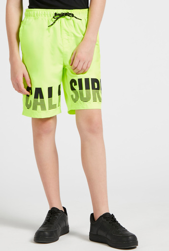 Printed Knee-Length Shorts with Drawstring Closure and Pockets