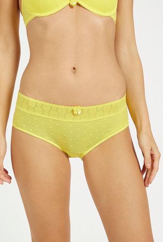Pineapple Mesh Mid-Rise Bikini Briefs with Elasticised Waistband