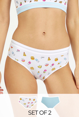 Set of 2 - Assorted Mid-Rise Boyleg Briefs with Elasticised Waistband