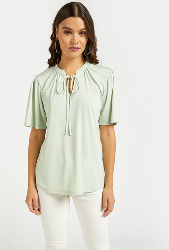 Solid Top with Short Sleeves and Tie-Ups