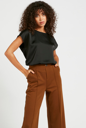 Solid Round Neck Top with Shoulder Button Detail
