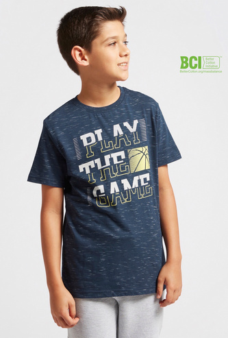Text Injected Print T-shirt with Round Neck and Short Sleeves